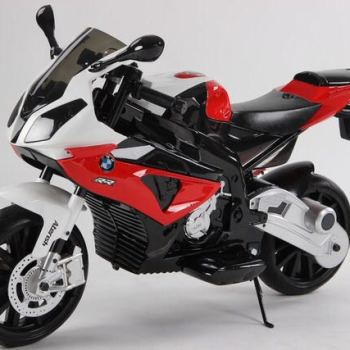 Электромобиль мотоцикл BMW S1000PR красный (колеса резина, кресло кожа, музыка)