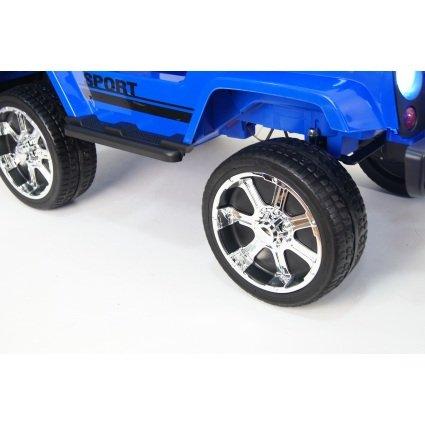 Электромобиль Jeep T008TT синий (2х местный, полный привод, колеса резина, кресло кожа, пульт музыка)