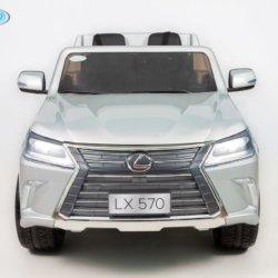 Электромобиль LEXUS LX 570 серебряный (легко съемный аккумулятор, 4WD, 2х местный, колеса резина, сиденье кожа, пульт, музыка)
