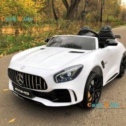 Электромобиль Mercedes-Benz GT R MP3 - HL289-4WD белый (2х местный, колеса резина, кресло кожа, пульт, музыка, кондиционер)
